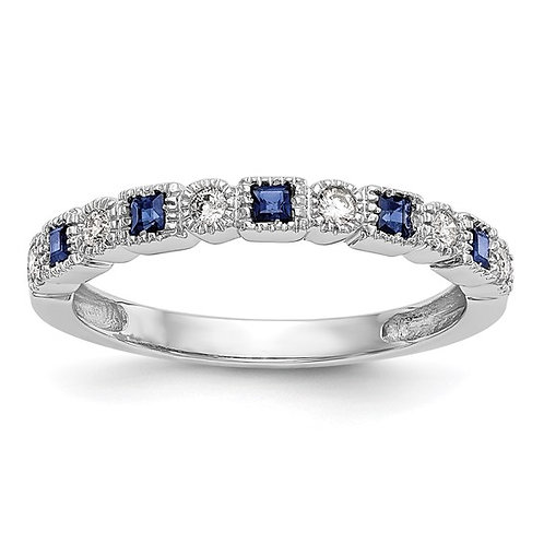 Beautiful 14k White Gold Diamond & Sapphire Wedding Band Ring