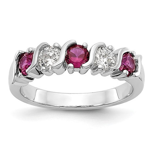 STUNNING! 14k White Gold Diamond & Ruby Wedding Band 4.4g