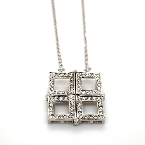 14K White Gold Collapsable Box Necklace
