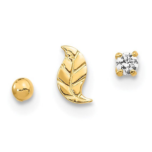 14k Yellow Gold Set of Nose Post Earrings Leaf, Ball & CZ