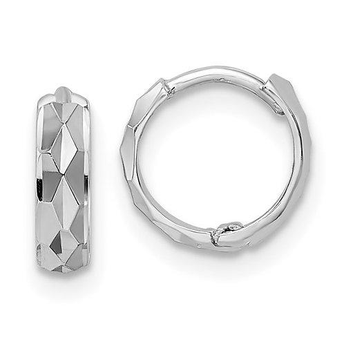 14k White Gold Diamond Cut Hoop Earrings GORGEOUS!