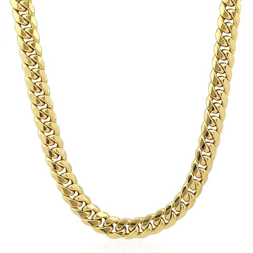Semi-Solid Thick & Heavy 10mm Cuban Link Chain Necklace 14k Yellow Gold 28""