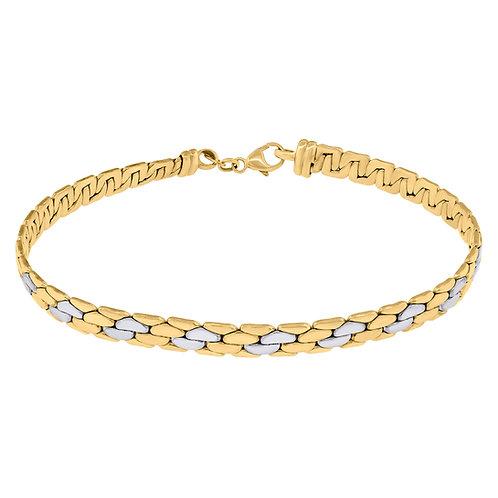 Beautiful 14k Gold Two Tone Fancy Link Polished Panther Bracelet 5g Measures 7.5