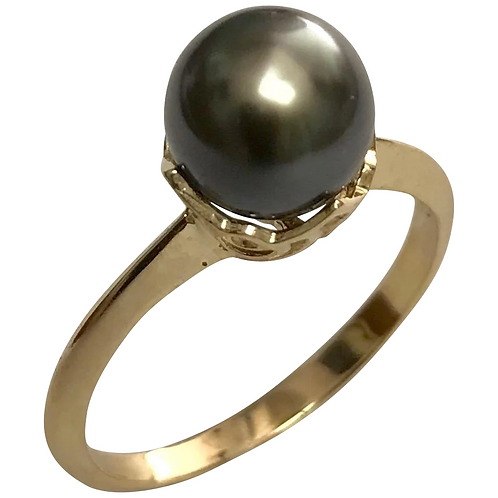 14 K Yellow Gold Tahitian Pearl Solitaire Ring