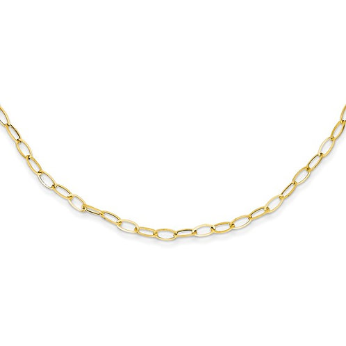 "10k Oval Link Gold Necklace Measures 18"" NICE!"