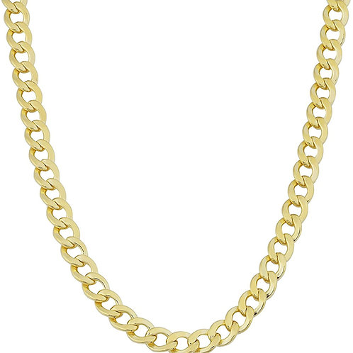 Semi Solid Curb Handcrafted 10k Yellow Gold Chain Thickness is 9mm Necklace 25""