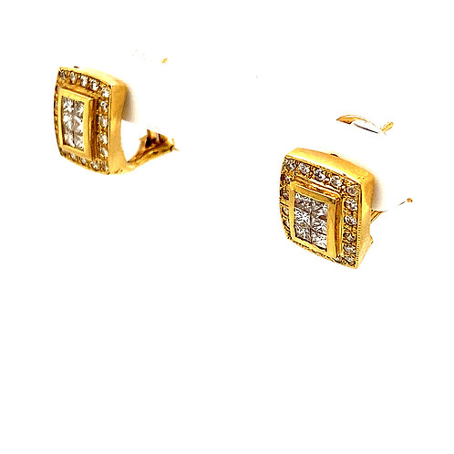 EGL Certified Square Shape 1.29ct Diamond Stud Earrings 14k Gold