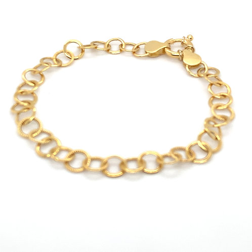"Circle Chain Link Handcrafted 18K Gold Bracelet Measures 7.5"""