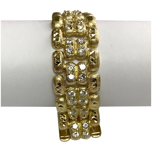 10 K Yellow Gold 7.5 ctw Simulated Diamond Link Bracelet