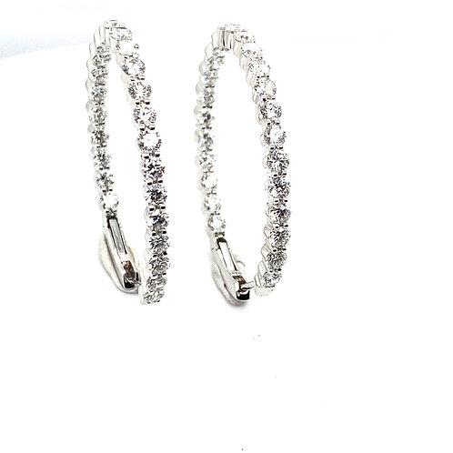 Beautiful Certified 6ct Diamond & 18k White Gold Loop Round Earrings GORGEOUS!