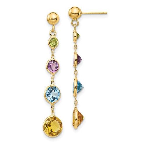 14k Multi-Gemstone Drop Dangle Earrings GORGEOUS!