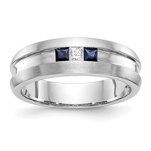 Men's 14K White Gold Diamond & Sapphire Wedding Band 6.6mm