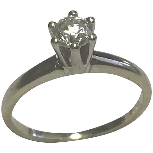 14 k White Gold 0.25 Carat Diamond Solitaire Ring