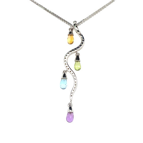 Unique 14K/18K White Gold Diamond and Multi Colored Stone Pendant Necklace