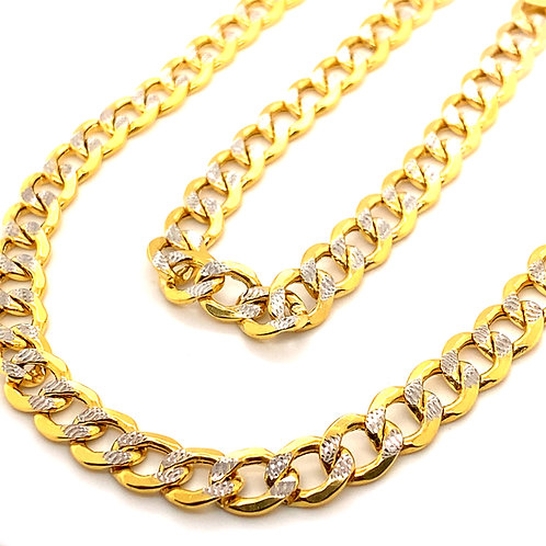 Jewelry Set 10mm Pave Curb Chain Necklace & Bracelet 10k White & Yellow Gold