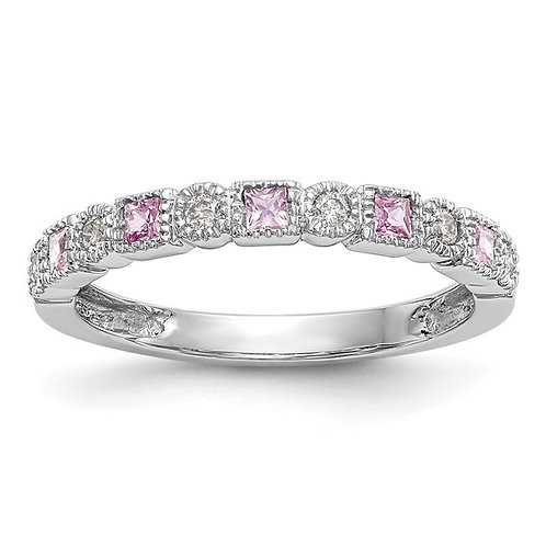GORGEOUS! 14k White Gold Diamond & Pink Sapphire Wedding Band Stackable NICE!