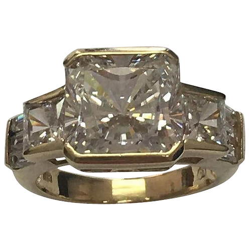 14 K Yellow Gold 7.00 Carat Square Cut Simulated Diamond Ring