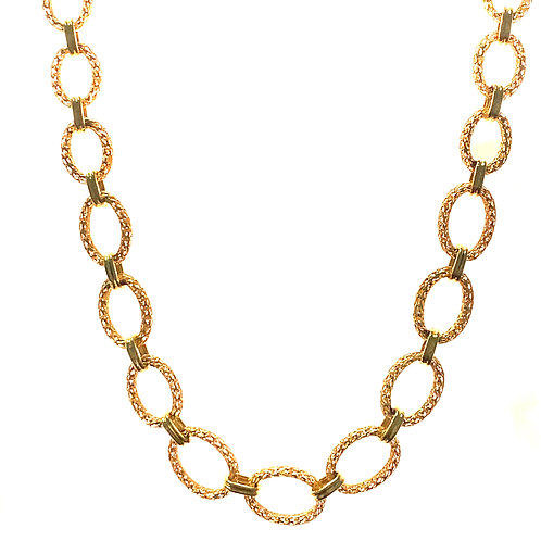 Beautiful Handcrafted 14k Yellow Gold Fancy Circle Link Necklace Measures 17""