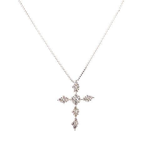 Outstanding Sparkle & Design Diamond Cross Pendant 0.60ct 14k White Gold