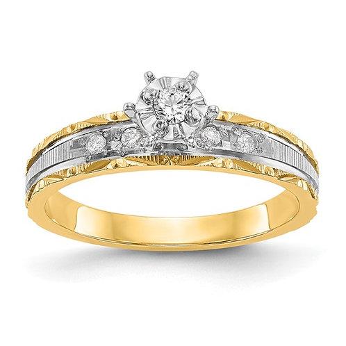 14k Yellow Gold & Diamond Trio Engagement Ring Upscale Design
