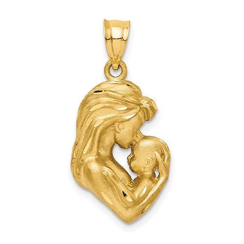 14k Solid Gold Mom Baby Diamond Cut Charm Pendant 3.3g Stunning Piece!