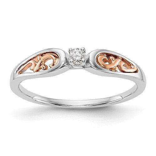 Sweet Dainty 14K White & Rose Gold Diamond Promise Engagement Ring