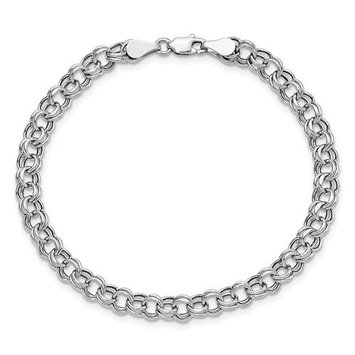 "14k White Gold Double Link Charm Bracelet Measures 7.25"" 5mm 2.5g NICE!"