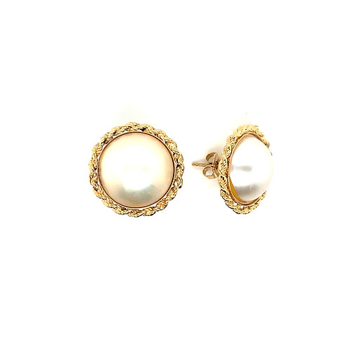 Gorgeous Women's 14K Gold Pearl Accent Earrings