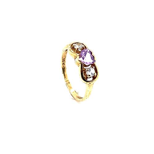 Heart Shaped 10K Gold 0.25 Carat Amethyst Ring