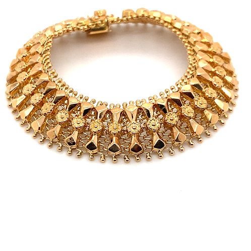 "Gorgeous Super Thick 18K Gold Fancy Bracelet 7.5"" Thickness is 18MM"