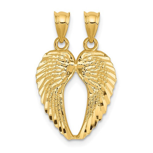 Handcrafted 14k Yellow Gold Break Apart Angel Wings Pendant