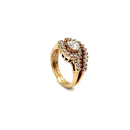 Stunning 14K Gold IGI Certified 0.99 Carats Diamond Engagement Ring