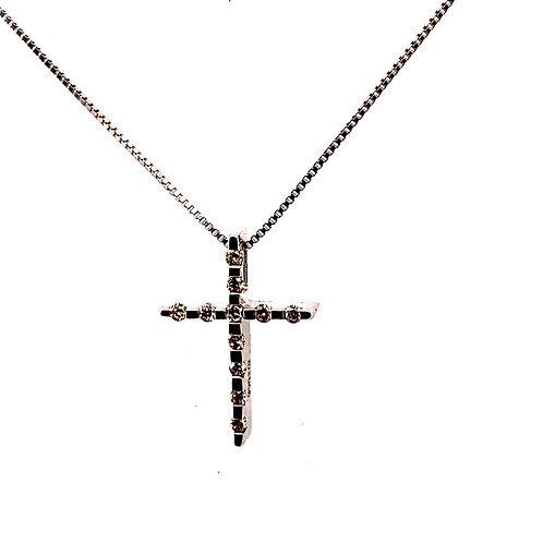 "Dainty Sweet 3 Dimensional Diamond  Cross Pendant 0.15ct Set in 14K Necklace 19"""
