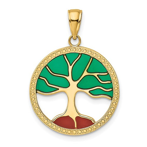 Gorgeous Vibrant Colorful 14k Yellow Gold Tree of Life Charm Pendant