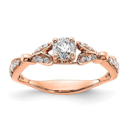 Absolutely PERFECT 14k Rose Gold Two Hearts Diamond Engagement Ring 3mm 0.652ct