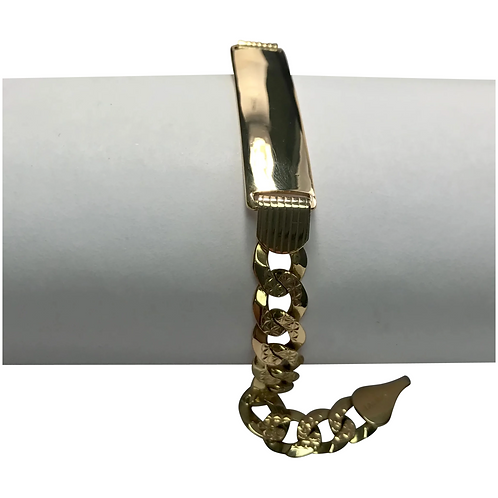 14 K Yellow Gold, Diamond Cut, Curb Chain ID Bracelet