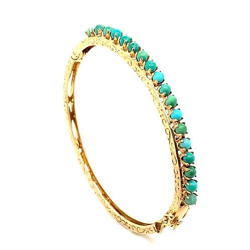 Stunning 14K Gold Blue Turquoise Bangle Bracelet