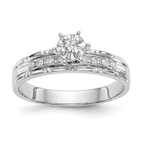 Beautiful Engagement Ring! 14K White Gold & Diamond Trio Unique Gorgeous Design