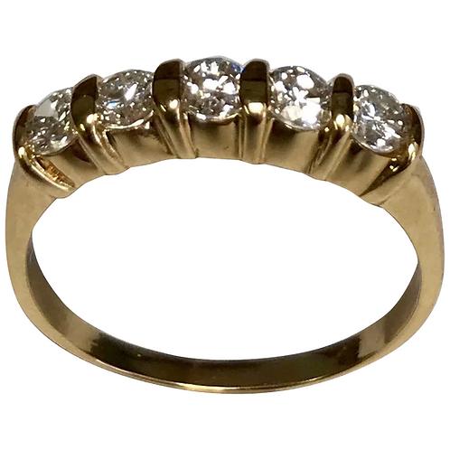 14 K Yellow Gold 0.85 CTW Five Diamond Band