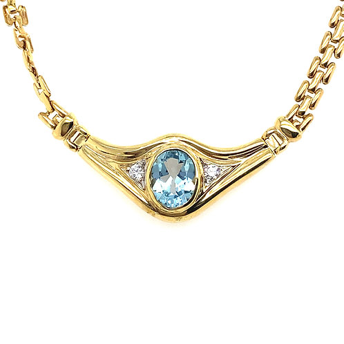 Women's 14K Gold and Aquamarine Necklace