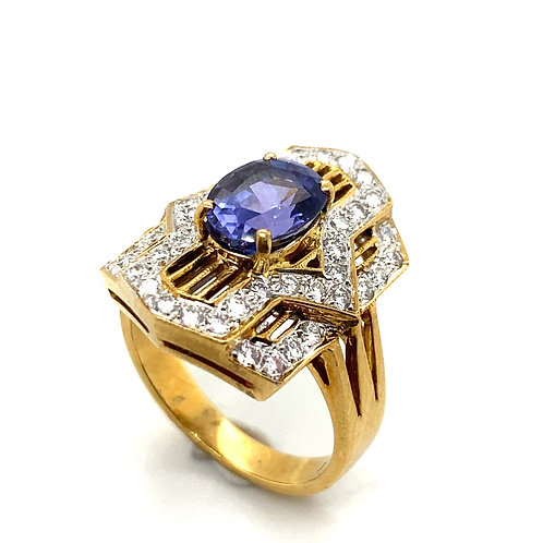 GORGEOUS Statement Ring! Purple Tanzanite & Diamond Set In Handcrafted 18k Gold