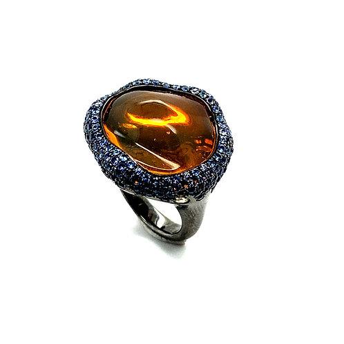 "Unique Large 1"" Opal Sapphire Diamond Ring 18k Gold w/Black Rhodium"
