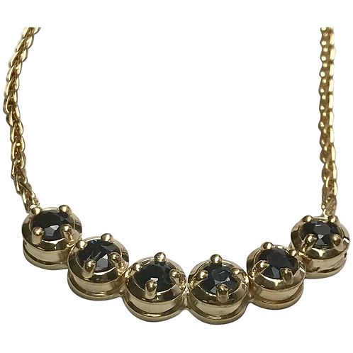 14K Yellow Gold 2.00 CTW Sapphire Necklace