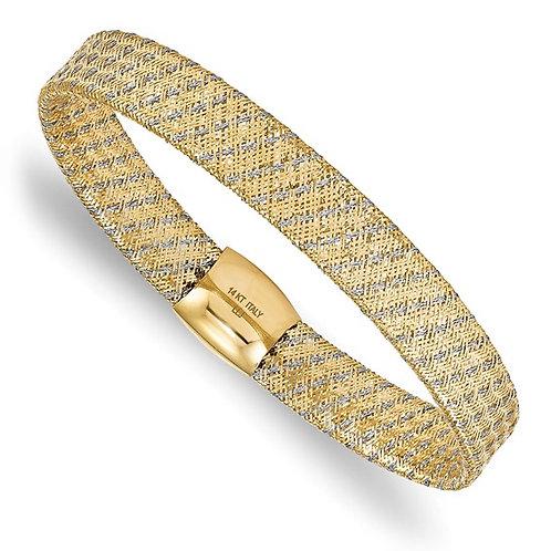 "14k Two Tone Gold Fancy Stretch Bangle Bracelet 9mm 7.5"" GORGEOUS!"
