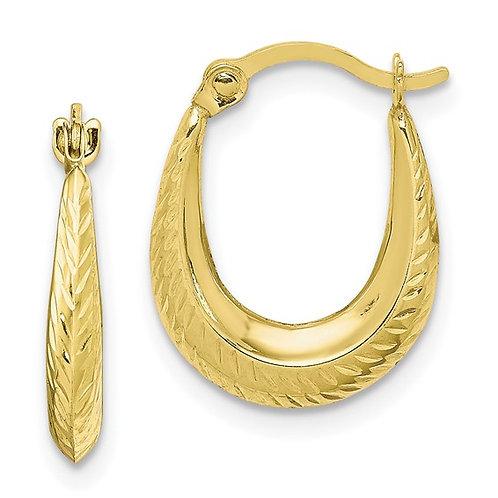 Beautiful Handcrafted 10k Yellow Gold Textured Hoop Earrings NICE!