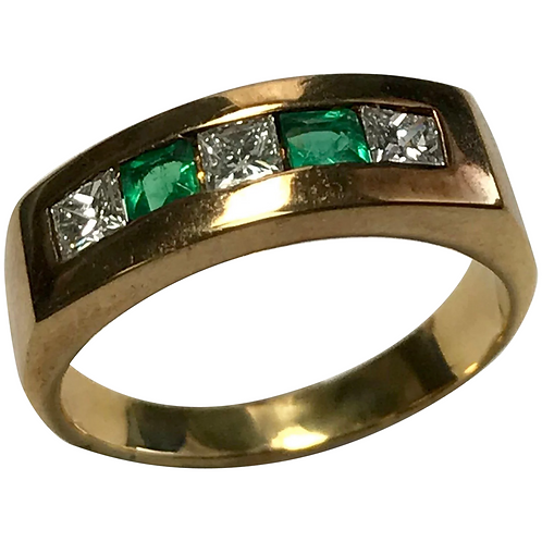 14k Yellow Gold Princess Cut Emerald & Diamond Band