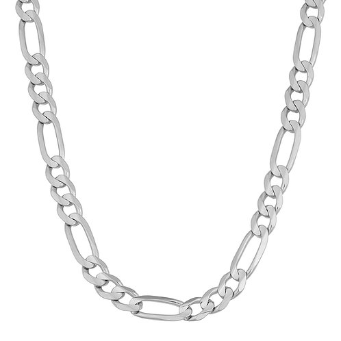 """Figaro Handcrafted White Gold 10k Necklace Measures 22"""" Thickness is 8mm"""