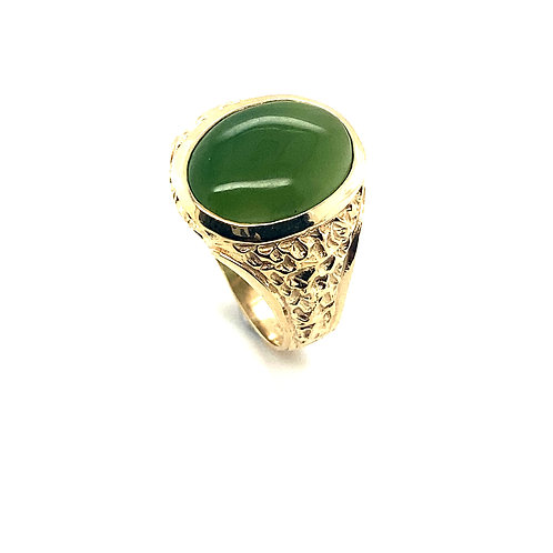 Men's Gorgeous Large Jade Oval Shape Set in Handcrafted 10k Solid Gold Unique