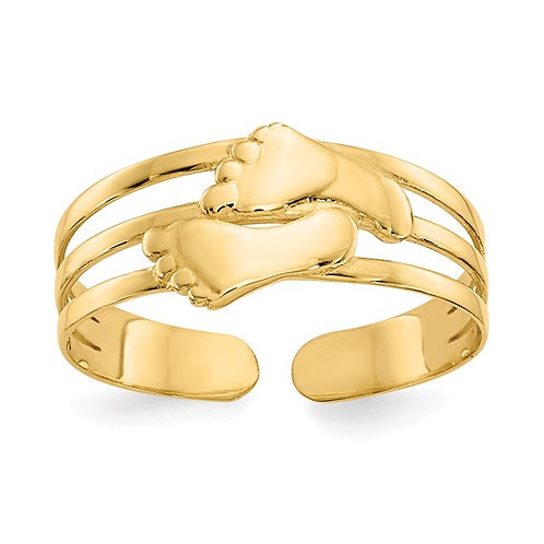 Bare Feet Solid 14K Yellow Gold Toe Ring CUTE!