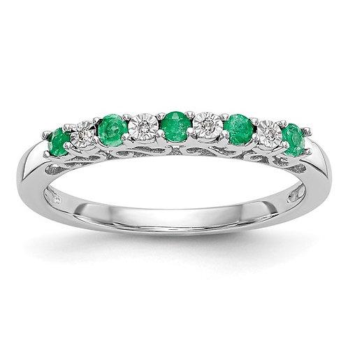 Beautiful Diamond & Emerald Wedding Band 14k Handcrafted White Gold